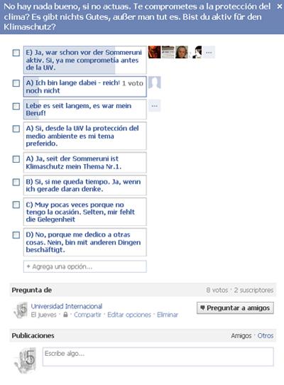 Umfrage auf Facebook