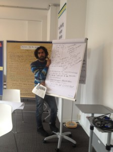 Saransh tries to organise the groups ideas